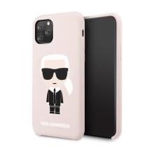Kryt KARL LAGERFELD pro Apple iPhone 11 Pro - silikonový - světle růžový