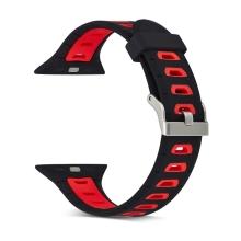 Řemínek pro Apple Watch 40mm Series 4 / 38mm 1 2 3 - silikonový - černý / červené otvory - (S/M)