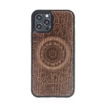 Kryt pro Apple iPhone 12 / 12 Pro - mandala - MagSafe kompatibilní - umělá kůže / dřevěný - tmavě hnědý