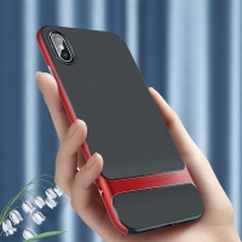 Kryt ROCK Royce pro Apple iPhone Xs Max - gumový / plastový - černý / červený