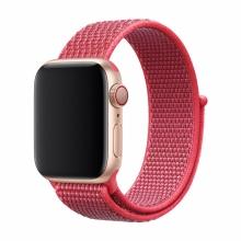 Řemínek DEVIA pro Apple Watch 40mm Series 4 / 5 / 6 / SE / 38mm 1 / 2 / 3 - nylonový - ibiškově červený