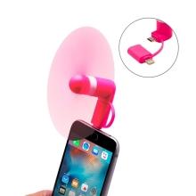Větráček / ventilátor s Lightning a micro USB konektorem - růžový