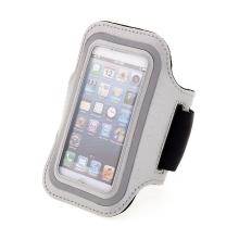 Sportovní pouzdro pro Apple iPhone 5 / 5C / 5S / SE - stříbrné s reflexním pruhem