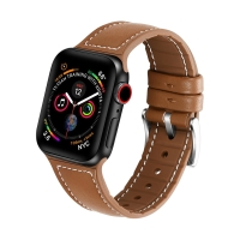 Řemínek pro Apple Watch 44mm Series 4 / 5 / 42mm 1 2 3 - silikonový / kožený - hnědý