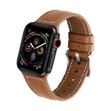 Řemínek pro Apple Watch 44mm Series 4 / 5 / 6 / SE / 42mm 1 / 2 / 3 - silikonový / kožený - hnědý
