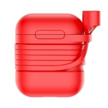 Pouzdro / obal + šňůrka BASEUS pro Apple AirPods - silikonové - červené