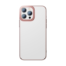 Kryt BASEUS pro Apple iPhone 13 Pro - pokovený - plastový - průhledný / růžový
