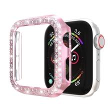 Kryt / pozdro pro Apple Watch 44mm Series 4 / 5 / 6 / SE - s kamínky - plastový - Rose Gold růžový