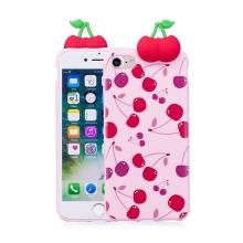 Kryt pro Apple iPhone 7 / 8 - 3D třešně - gumový - růžový / třešně