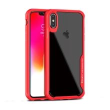 Kryt IPAKY pro Apple iPhone Xs Max - plastový / gumový - průhledný / červený