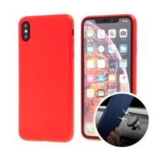 Kryt SULADA pro Apple iPhone Xs Max - gumový s magnetickým držákem - červený