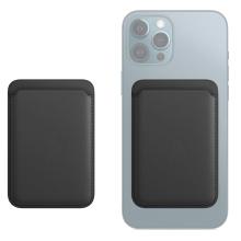 Pouzdro na platební karty s MagSafe uchycením pro Apple iPhone - umělá kůže - černé