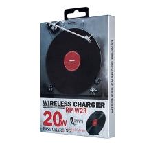 Bezdrátová nabíječka / Qi nabíjecí podložka REMAX RP-W23 - vzhled vinylové LP desky - 20W -černá