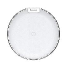 Bezdrátová nabíječka / nabíjecí podložka Qi BASEUS - kov / umělá kůže - bílá / stříbrná