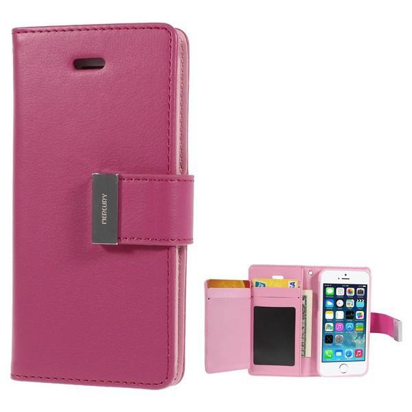 Vyklápěcí pouzdro - peněženka Mercury pro Apple iPhone 5 / 5S / SE - s prostorem pro umístění platebních karet - růžové
