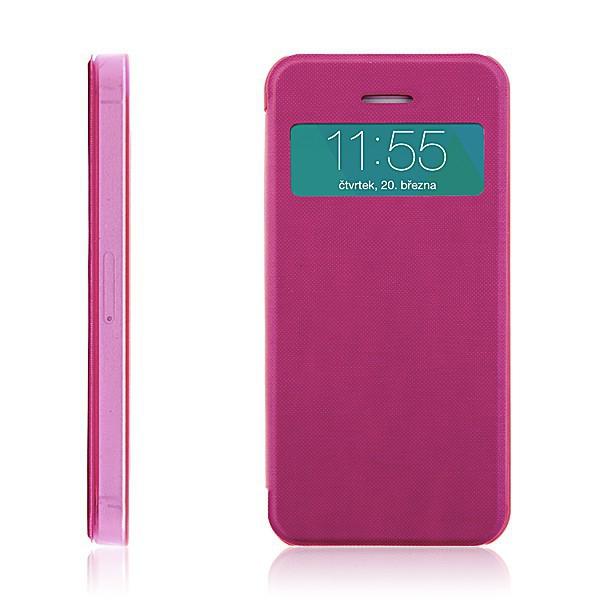 Flipové pouzdro pro Apple iPhone 5 / 5S / SE s průhledným prvkem / výřezem pro displej - růžové