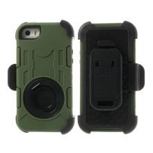 Pouzdro pro Apple iPhone 5 / 5C / 5S / SE outdoor plasto-silikonové - 360° otočný klip a stojánek - khaki zelené