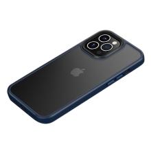 Kryt MOCOLO pro Apple iPhone 13 - plastový / gumový - průsvitný černý / modrý rámeček
