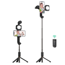 Bluetooth selfie tyč / tripod + světlo + mikrofon BLITZWOLF BW-BS15 - Bluetooth - černá