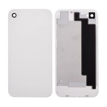 Náhradní zadní kryt (sklo) bez loga pro Apple iPhone 4S - bílý