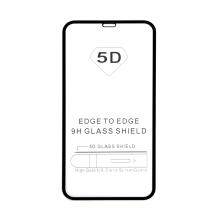 """Tvrzené sklo (Tempered Glass) """"5D"""" pro Apple iPhone Xr / 11 - 2,5D - černý rámeček - čiré - 0,3mm"""