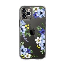Kryt SPIGEN Cecile pro Apple iPhone 12 / 12 Pro - plastový / gumový - modré květy