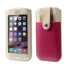 Pouzdro pro Apple iPhone 6 Plus / 6S Plus s magnetickým uzavírání a prostorem pro platební kartu - béžovo-růžové