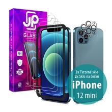 Tvrzené sklo JP Mega Pack pro Apple iPhone 12 mini - čiré - sada 3 kusů + aplikátor + 2x sklo na čočku