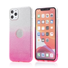 Kryt FORCELL Shining pro Apple iPhone 11 Pro Max - výřez pro logo - plastový / gumový - stříbrný / růžový