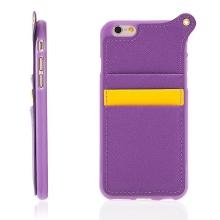 Kryt pro Apple iPhone 6 / 6S s prostorem na osobní doklady a poutkem na ruku - fialový