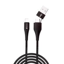 Synchronizační a nabíjecí kabel Lightning DEVIA - dvojitý vstupní konektor USB-C / USB - tkanička - 1m - černý