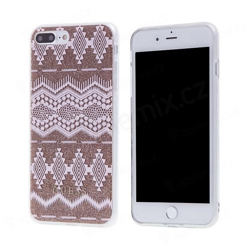 Kryt GUESS Ethnic Chic Tribal pro Apple iPhone 7 Plus   8 Plus - gumový -  růžový   zlatý fb2c01b0e54