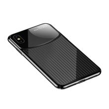 Kryt USAMS pro Apple iPhone Xs Max - sklo / plast - průhledný - černý