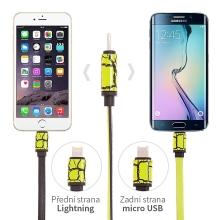 Kabel 2v1 synchronizační a nabíjecí Lightning a micro USB - žlutý / zelený - 1m