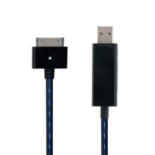 Synchronizační a nabíjecí kabel s 30pin konektorem pro Apple iPhone / iPad / iPod - černý s modrým podsvícením
