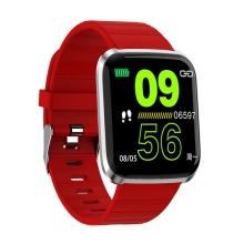 Fitness chytré hodinky - tlakoměr / krokoměr / měřič tepu - Bluetooth - voděodolné - červené