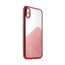 Kryt SULADA pro Apple iPhone X / Xs - lesklé vlnky - gumový - průhledný / červený