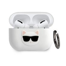 Pouzdro KARL LAGERFELD pro Apple AirPods Pro - kočka Choupette - silikonové - bílé