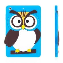 Silikonový kryt pro Apple iPad mini / mini 2 / mini 3 - vykulená sova - modrý