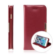 Pouzdro KLD Royale II pro Apple iPhone 6 / 6S kožené / prostor pro osobní doklady a magnetické uzavírání - červené
