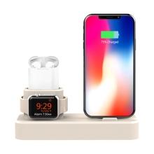 Nabíjecí stanice / stojánek pro Apple iPhone + AirPods + Watch - silikonový - béžový