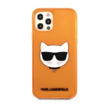 Kryt KARL LAGERFELD Choupette pro Apple iPhone 12 / 12 Pro - gumový - oranžový