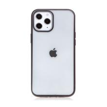 Kryt FORCELL Electro Matt pro Apple iPhone 12 / 12 Pro - gumový - průhledný / černý