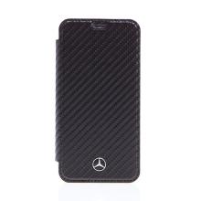 Pouzdro MERCEDES-BENZ pro Apple iPhone X - karbonová textura / plastové - černé / průhledné