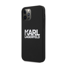 Kryt KARL LAGERFELD pro Apple iPhone 12 Pro Max - s logem Karl - silikonový - černý