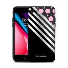 Kryt NXE pro Apple iPhone 7 / 8 - kroužky a pruhy - sklo / guma - černý / růžový