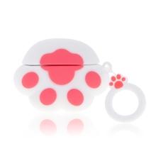 Pouzdro / obal pro Apple AirPods Pro - kočičí tlapka - silikonové - růžové / bílé