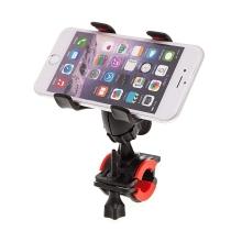 Univerzální rotační klipsnový držák na trubku / kolo pro Apple iPhone / iPod a další zařízení vel. až 6,3 - černý