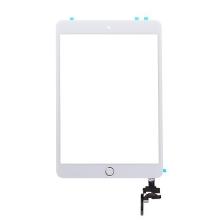 Dotykové sklo (touch screen) + IC konektor a flex s Home Buttonem pro Apple iPad mini 3 - bílé se zlatým tlačítkem - kvalita A+