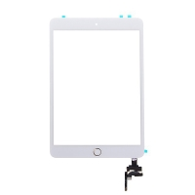 Dotykové sklo (touch screen) s IC konektorem a flex s Home Buttonem pro Apple iPad mini 3 - bílé se zlatým tlačítkem - kvalita A+